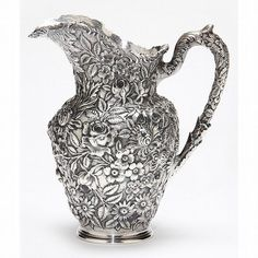 """Baltimore Rose"" Sterling Silver Water Pitcher (w' early 1903-1905 mark…"