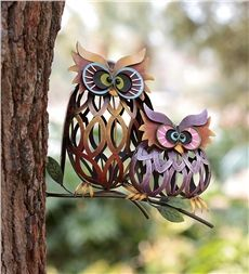 Our fun and funky Prismatic Owl Pair Iron Wall Sculptures will look terrific mounted on porch, post or a tree in your yard. Sturdy iron construction with colorful weather-durable finish for year-round display. Metal Yard Art, Metal Art, Iron Wall Decor, Welding Art, Metal Welding, Arte Popular, Owl Art, Garden Statues, Garden Sculpture