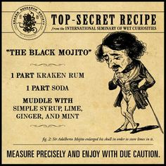 The Black Mojito - do this minus the sugar Drink Bar, Bar Drinks, Cocktail Drinks, Yummy Drinks, Cocktail Recipes, Beverages, Rum Recipes, Shot Recipes, Alcohol Recipes