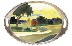 """Art Nouveau tray, [attributed to Johann von Schwarz] ceramic insert with a colorful landscape design in a cutout metal frame,  impressed marks, 21""""w  