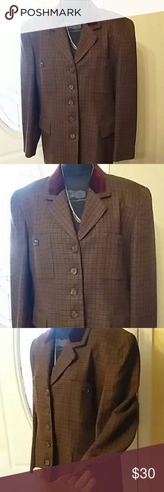 Brand New Woman's Suit Jacket Five Button Front with Two Hidden Pockets and two open pockets. Beige & Burgendy' Velvet Collar fully satin lined. Jones New York Jackets & Coats Blazers