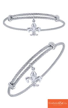This gorgeous 925 Silver/stainless Steel Charm Bangle by Gabriel & Co. is a one of a kind for the upcoming winter holidays. Pair this beautiful bangle along with any of our other bangles to stack it up for the holidays. Whether its for Thanksgiving, Christmas, or Hanukkah, this stunning piece is perfect.