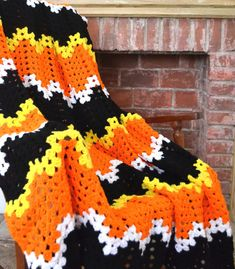 Hand Crochet Halloween Candy corn afghan / blanket by MingazovArt