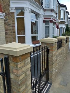 victorian front garden design london stock second hand reclaimed brick wall and natural stone cap wall with metal wrought iron rail and gate