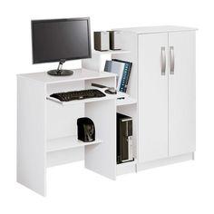 Mesa Para Computador Com Armário  Portas Super Office Branco Patrimar
