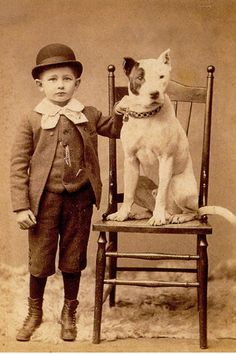 Child posing with his pitbull.
