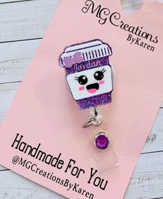 Your place to buy and sell all things handmade Id Badge Holders, Badge Reel, Id Holder, Personalised Badges, Acrylic Keychains, Pill Bottles, Happy Pills, Monogram Styles, Resin Crafts