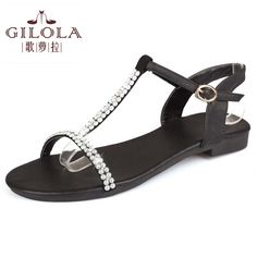 2016 new flat women's sandals ladies genuine leather women sandals summer shoes woman white black shoes #Y0569608F