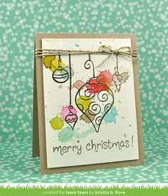 Love this awesome watercolor splatter card with Ornate Ornaments by Kristin