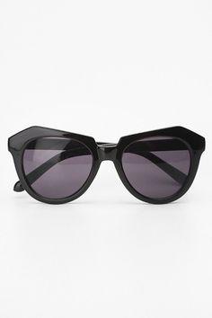 Geometric 'Number One' Cat Eye Sunglasses - Black #1178-1
