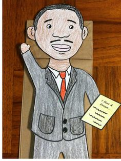 ... martin luther king jr paper bag puppet martin luther king jr paper bag
