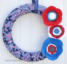 Patriotic Wreath 4th of July Wreath Mini by AmandaMichaeleCrafts