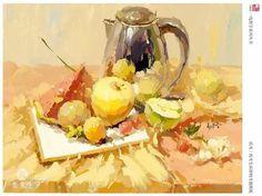 Still Life Sketch, Still Life 2, Casein Paint, Modern Art, Contemporary Art, Guache, Gouache Painting, Impressionism, Watercolour
