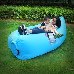 HappyCell® Outdoor Inflatable Lounger Portable Lightweight Air Filled Balloon Furniture, Indoor Sleeping Sofa Couch for Camping Hiking Beach BBQ Fishing, with Carry Bag. NOTE BEFORE BUY:HappyCell trademarke is only authourized to HappyCell Store. Hight Quality Material-This Inflatable Air Bed was made by external high quality nylon fabric cloth and internal pvc,the Nylon material help you feel more comfortable after sit or lying on it.it can bear 330-440lb, that means 2-3 people sit on it at…