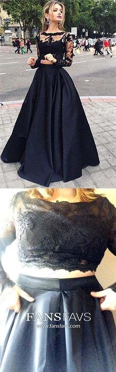 Scoop Neck Tulle A-line Two Piece Long Sleeve Prom Dress with Appliques Lace Black Formal Dresses Long, Two Piece Prom Dresses Long Sleeve, A Line Evening Dresses Tulle, Lace Graduation Dresses Beautiful Modest Formal Dresses, Vintage Formal Dresses, Affordable Prom Dresses, Prom Dresses Long With Sleeves, Formal Dresses For Weddings, Prom Dresses Online, Cheap Prom Dresses, Formal Evening Dresses, Trendy Dresses