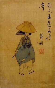 전모를 쓴 여인. 시대: 조선(朝鮮) <조선후기>. 재질: 사직(絲織)-견(絹) / 비단 위에 채색. 작가: 신윤복(申潤福). 크기: 29.7×28.2cm. National Museum of Korea