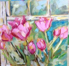 """Daily Paintworks - """"Flowers in the window"""" - Original Fine Art for Sale - © Jean Delaney"""