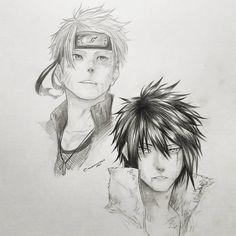 Drew sasuke and naruto. Eid mubarak u guys😭😁😁😁 Sasuke Drawing, Naruto Drawings, Boy Drawing, Manga Drawing, Manga Art, Cool Drawings, Manga Anime, Naruto Sketch, Naruto Art