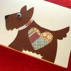 přání PEJSEK Stříhané, lepené, různé druhy papíru, obálka v ceně Velikost 13,5x13,5cm