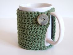 Crochet Coffee Cup Cozy, Tea Cozy, Green Mug Cozy, Knit. $5.00, via Etsy.