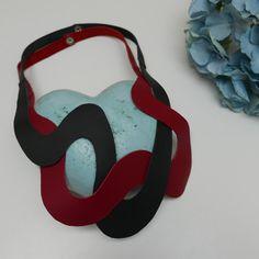 Nouvelle vague, necklacem upcycling leather remnants, black, wine red, wave shape