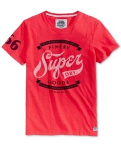 Superdry Men's Finery Goods Graphic-Print Logo T-Shirt  - Red XXL