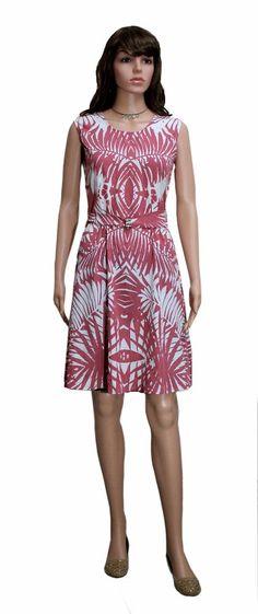 Buy PINK & WHITE SLEEVELESS POLYESTER CREPE FLARE DRESS