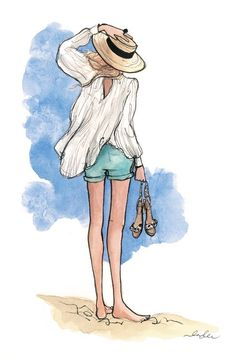 #Travel #Girls #Illustration #Hat #Beach #Fashion #Summer #Holiday #Vacation