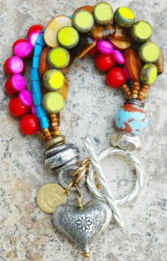 Artisan Passion-Filled Colorful Silver Heart Charm Bracelet