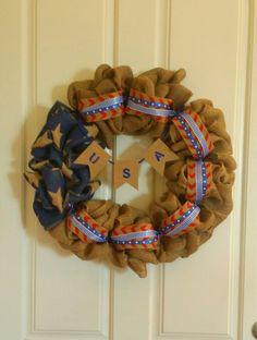 USA burlap wreath by Audrey Rose
