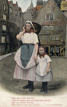 A Newhaven Fishwife and girl and the Scottish song, Caller Herrin'  -  A  Valentine postcard in colour