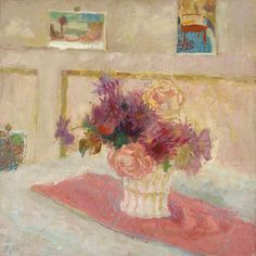 Margaret Thomas – Postcards and Flowers,   1949; Oil on canvas, 51.3x51 cm | National Galleries of Scotland