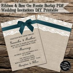Teal Ribbon With Bow On Romantic Lace & Rustic by WeddingShopTM
