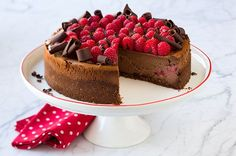 Chocolate Raspberry Cheesecake- delicious and super easy! Didn't have the liqueur so subbed with syrup and worked perfect. Cut the bake time bc I worried it was already done and shouldn't have. Next time I'll do the full time. Also, buy more berries for topping than they say. Otherwise perfect & impressive!