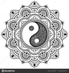 Circular pattern in form of mandala for Henna, Mehndi, tattoo, decoration. Decorative ornament in oriental style with Yin-yang hand drawn symbol. Coloring book page. Mandala Art Lesson, Mandala Artwork, Mandala Drawing, Mandala Tattoo, Henna Mandala, Mandala Design, Estilo Mehndi, Henna Tatoo, Henna Mehndi