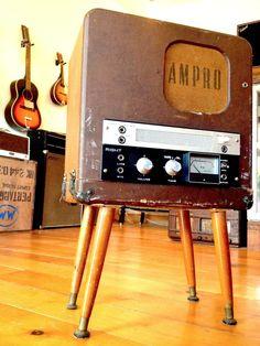 1960's Akai M8 reel to reel amplifier housed in a 1950's Ampro film projector speaker box.