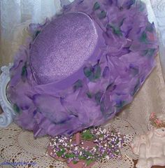 Vintage Wide Brim hat Purple Lavendar Easter by GLAMOURGIRLCHIC, $35.00