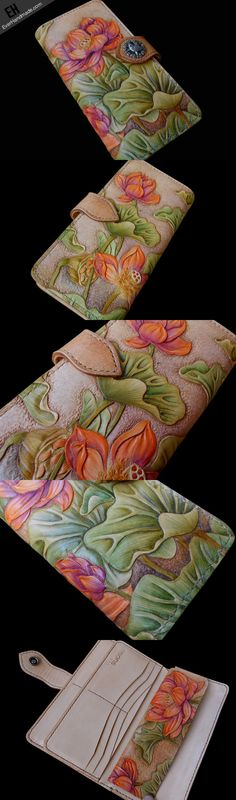 Handcraft vintage hand painting lotus flower leather long wallet for w   EverHandmade