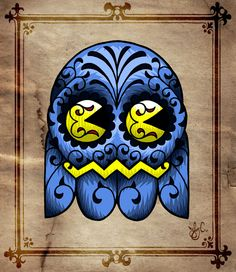Pac-Man Sugar Skull  Created by Joby Cummings