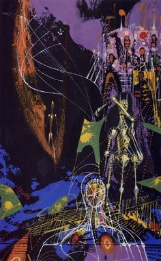 Richard Powers, Science Fiction Omnibus, acrylics, 1963. For an anthology edited by Groff Conklin