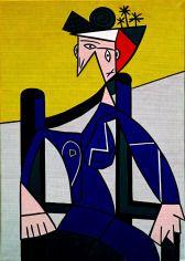 1963 - FEMME DANS UN FAUTEUIL - Magna on canvas (173 x 122 cm)