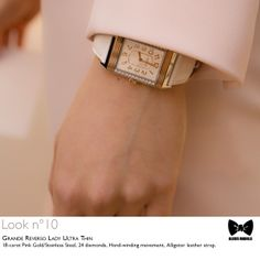 Seen at #JLCandAlexisMabille fashion show: the Grande #Reverso Lady Ultra Thin  #watch. Technical details: 18-carat Pink Gold/Stainless Steel, 24 diamonds, Hand-winding movement, Alligator leather strap. Reference: 3224420