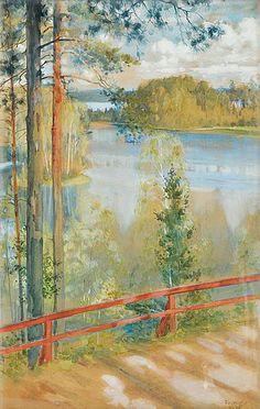 ALBERT EDELFELT Lake Landscape from Kaukola, Saaris (1890)