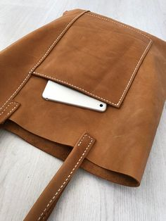 uncategorized Brown, hand-sewn leather bag no. 2 brown hand-sewn leather bag no.
