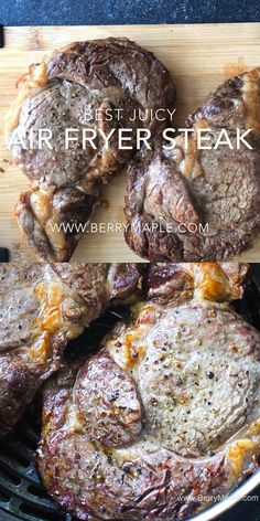 Best juicy air fryer steak cooked to perfection! No mess no splashing oil just tasty beef steak ( use sirloin or ribeye or any other favorite cut) for your next dinner. Healthy Keto weight watchers 4 smart points per serving. Air Fryer Recipes Videos, Air Fryer Oven Recipes, Air Frier Recipes, Air Fryer Dinner Recipes, Good Steak Recipes, Sirloin Steak Recipes, Beef Recipes, Ribeye Steak Oven, Beef Steak Recipe