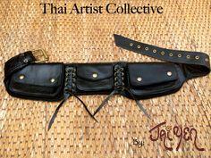 Leather Utility Belt Bag / Steampunk Pocket Belt / Fanny Pack - The Corset