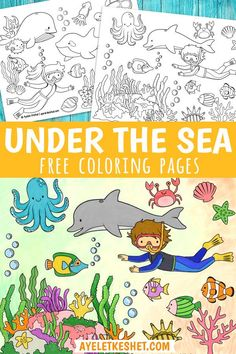 Under the sea coloring pages. Free printable coloring pages for kids. Ocean coloring pages set to print at home. #Ayelet_Keshet #coloring #coloringpages Ocean Coloring Pages, Free Kids Coloring Pages, Summer Coloring Pages, Coloring Sheets For Kids, Free Printable Coloring Pages, Free Coloring, Free Printables, Under The Sea Crafts, Sea Colour