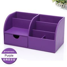 NEW Candy Colored Modern Quality Leather Desktop or Vanity Top Organizer 7 Colors