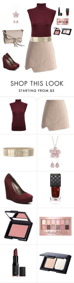 """""""Burgundy & Blush"""" by cynacalady ❤ liked on Polyvore featuring WearAll, Chicwish, Chicnova Fashion, Mixit, Michael Antonio, Gucci, e.l.f., Maybelline and H&M"""