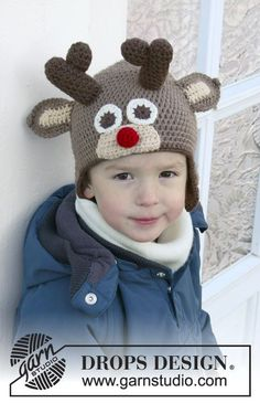 "DROPS Christmas: Crochet DROPS reindeer hat with antlers and ears in ""Lima"". Size 6/9 months to 9/10 years. ~ DROPS Design"